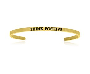 Yellow Stainless Steel Think Positive Cuff Bracelet