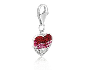 Heart Multi Color Crystal Encrusted Charm in Sterling Silver