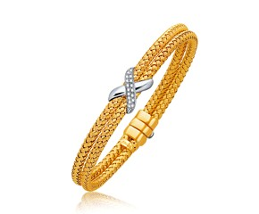 Dual Row Basket Weave Bangle with Diamond Cross Accent in 14K Two Tone (7.0mm)