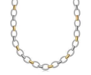 Diamond Cut Cable Inspired Chain Rhodium Plated Necklace in 18K Yellow Gold and Sterling Silver