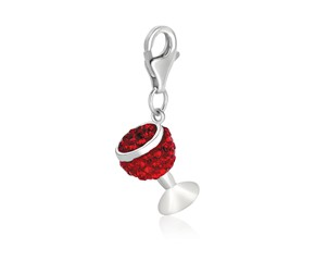 Wine Glass Red Tone Crystal Encrusted Charm in Sterling Silver