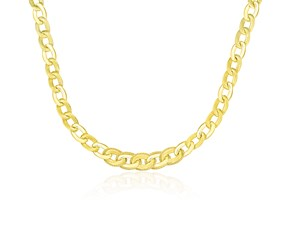 Popcorn Motif Trim Oval Link Necklace in 14K Yellow Gold