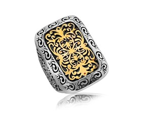 Rounded Rectangle Scrollwork Motif Ring in 18K Yellow Gold and Sterling Silver