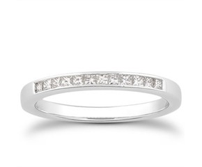 Princess Channel Diamond Wedding Ring Band in 14K White Gold