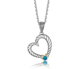 Round Blue Topaz Accented Tapered Cable Heart Pendant in 18K Yellow Gold and Sterling Silver