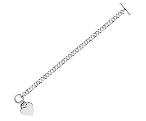 Heart Charmed Rolo Chain Bracelet in Rhodium Plated Sterling Silver