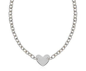 Flat Heart Stationed Chain Necklace in Rhodium Plated Sterling Silver