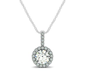 Diamond Halo Pendant in 14K White Gold (5/8 ct. tw.)