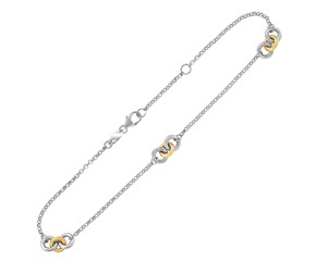 Triple Ring Stationed Anklet in 14K Yellow Gold and Sterling Silver
