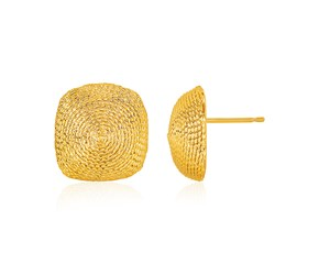 14K Yellow Gold Textured Semi-Square Dome Post Earrings