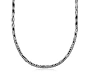 Foxtail Design Men's Necklace in Oxidized Sterling Silver