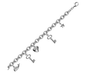 Multi Charmed Oval Chain Bracelet in Rhodium Plated Sterling Silver