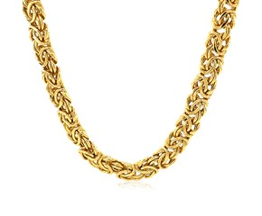 Thick Byzantine Chain Necklace in 14K Yellow Gold