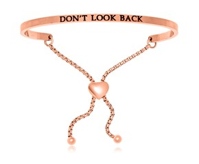 Pink Stainless Steel Don't Look Back Adjustable Bracelet