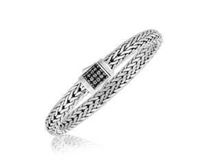 Black Sapphire Accented Men's Braid Inspired Bracelet in Sterling Silver