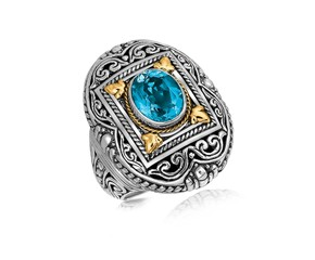 Rectangle Framed and Scrollwork Design Oval Blue Topaz Ring in 18K Yellow Gold and Sterling Silver