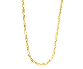 Fancy Textured Oval Link Necklace in 14K Yellow Gold