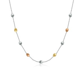 Textured Pebble Stationed Necklace in 14K Yellow Gold and Sterling Silver