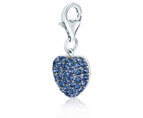 Heart Blue Tone Crystal Accented Charm in Sterling Silver