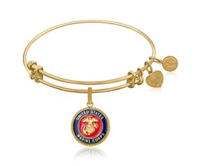 Expandable Yellow Tone Brass Bangle with U.S. Marine Corps Symbol