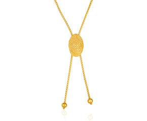 14K Yellow Gold Adjustable Lariat Necklace with Textured Oval Dome