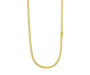Popcorn Necklace with Lariat Buckle Station in 14K Yellow Gold