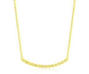 Diamond Accented Curved Circle Link Necklace in 14K Yellow Gold (.10ct)