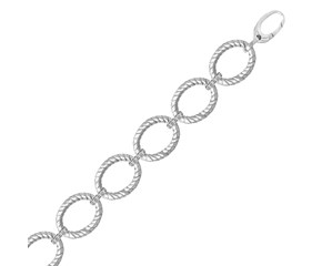 Diamond Accented Cable Oval Link Bracelet in Rhodium Plated Sterling Silver (.20ct tw)