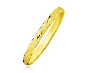Slim Diamond Pattern Bangle in 10K Yellow Gold