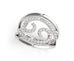 Swirl Design Diamond Ring in 14K White Gold (1/2 ct. tw.)