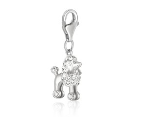 Poodle Dog Charm with White Tone Crystal Accents in Sterling Silver