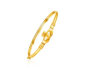 14K Yellow Gold Hook Closure Claddagh Bangle