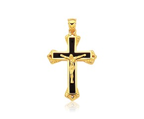 Black Onyx Cross Pendant in 14K Yellow Gold