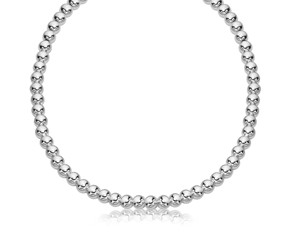 Polished Bead Chain Necklace in Rhodium Plated Sterling Silver (8mm)