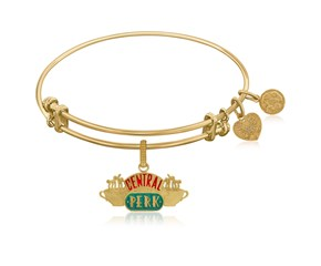 Expandable Yellow Tone Brass Bangle with Central Perk Symbol