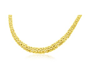 Graduated Byzantine Chain Necklace in 14K Yellow Gold