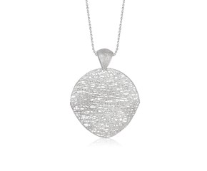 Freeform Weave Shield Pendant in 14K White Gold