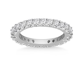 Classic Common Prong Round Diamond Eternity Ring in 14K White Gold