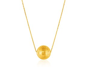 14K Yellow Gold Necklace with Faceted Ball Pendant