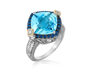 Blue Topaz, Iolite, and Diamond Cushion Ring in 18K Yellow Gold and Sterling Silver (.23 ct. tw.)