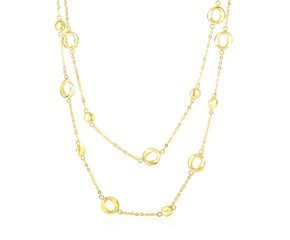 Open Circle and Disc Station Double Strand Necklace in 14K Yellow Gold