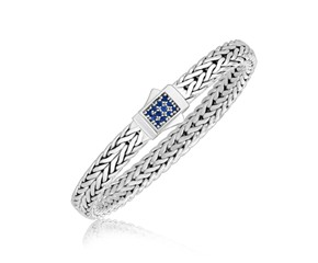 Braided Blue Sapphire Accented Box Lock Men's Bracelet in Sterling Silver