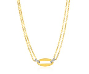 14K Yellow Gold and Diamond Necklace with Gold Center Link (1/10 ct. tw.)