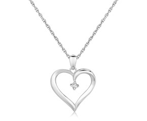 Fancy Diamond Accented Heart Pendant in Sterling Silver (.03 ct t.w.)