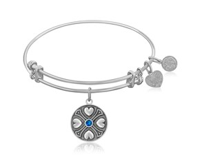 Expandable White Tone Brass Bangle with Sapphire September Symbol