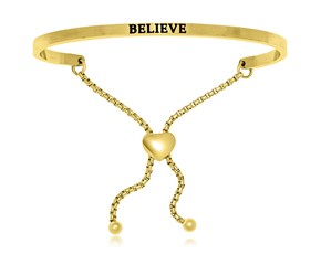Yellow Stainless Steel Believe Adjustable Bracelet