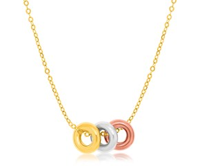Triple Open Circle Accented Chain Necklace in 14K Tri-Color Gold