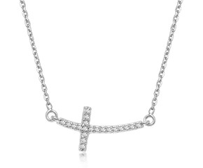 Diamond Accented Curved Cross Necklace in 14K White Gold (.11ct tw)