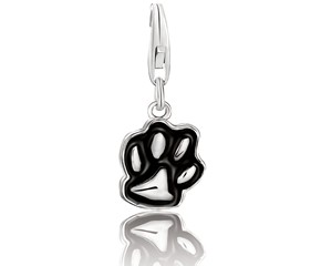Dog Paw Black Enameled Charm in Sterling Silver