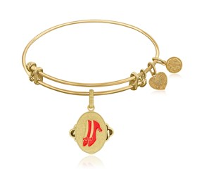 Expandable Yellow Tone Brass Bangle with Ruby Slippers Symbol